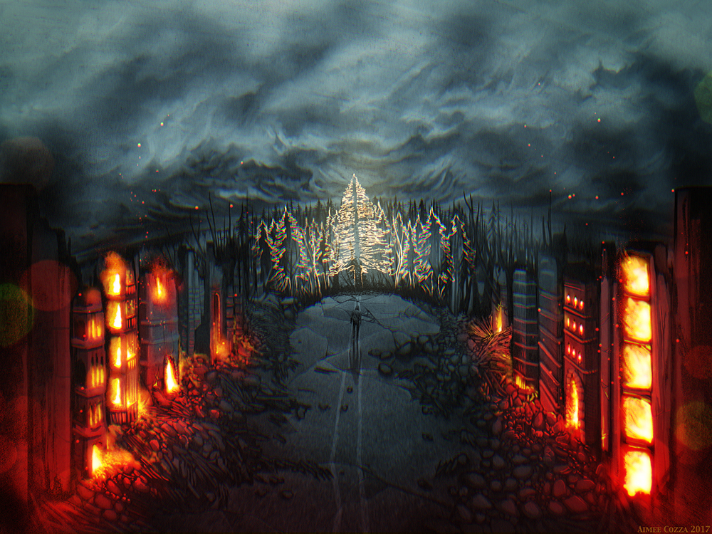 A landscape of a city that is demolished. The buildings in the foreground are on fire and burning. Rubble flanks a broken up street as a lonely man walks in the distance towards where a ghostly forest overtakes the landscape.