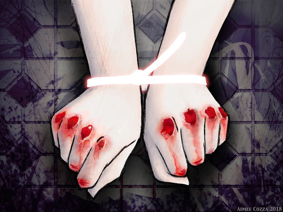 An illustration of two hands forming fists, extended out towards the viewer. The fists are broken open along the knuckles, red, raw, and bleeding. The fists are bound at the wrists by a glowing white zip tie