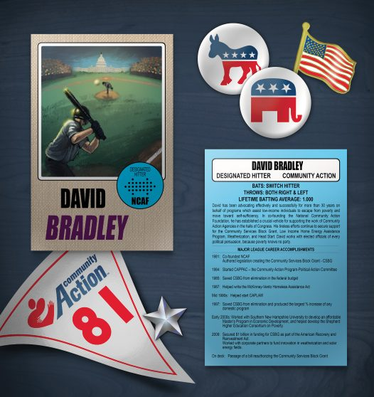 NCAF Designated Hitter David Bradley Illustration, 2018