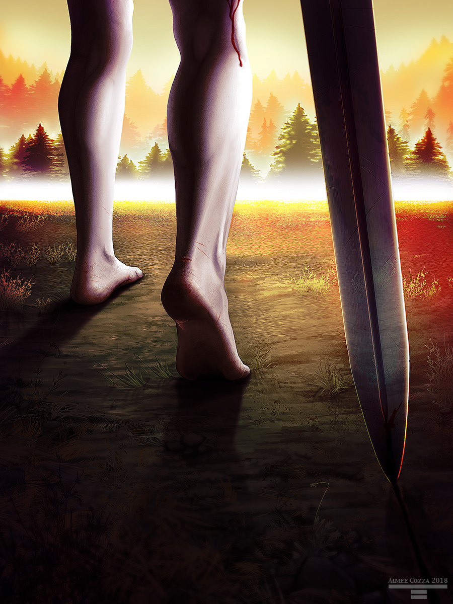 A close up of a man's nude legs as he steps towards a brightened forest-laden horizon. There is a red rivulet of blood running down the side of his bare back foot, which is partially lifted from the ground, indicating he is wounded. He is dragging a large sword behind him through the dirt.
