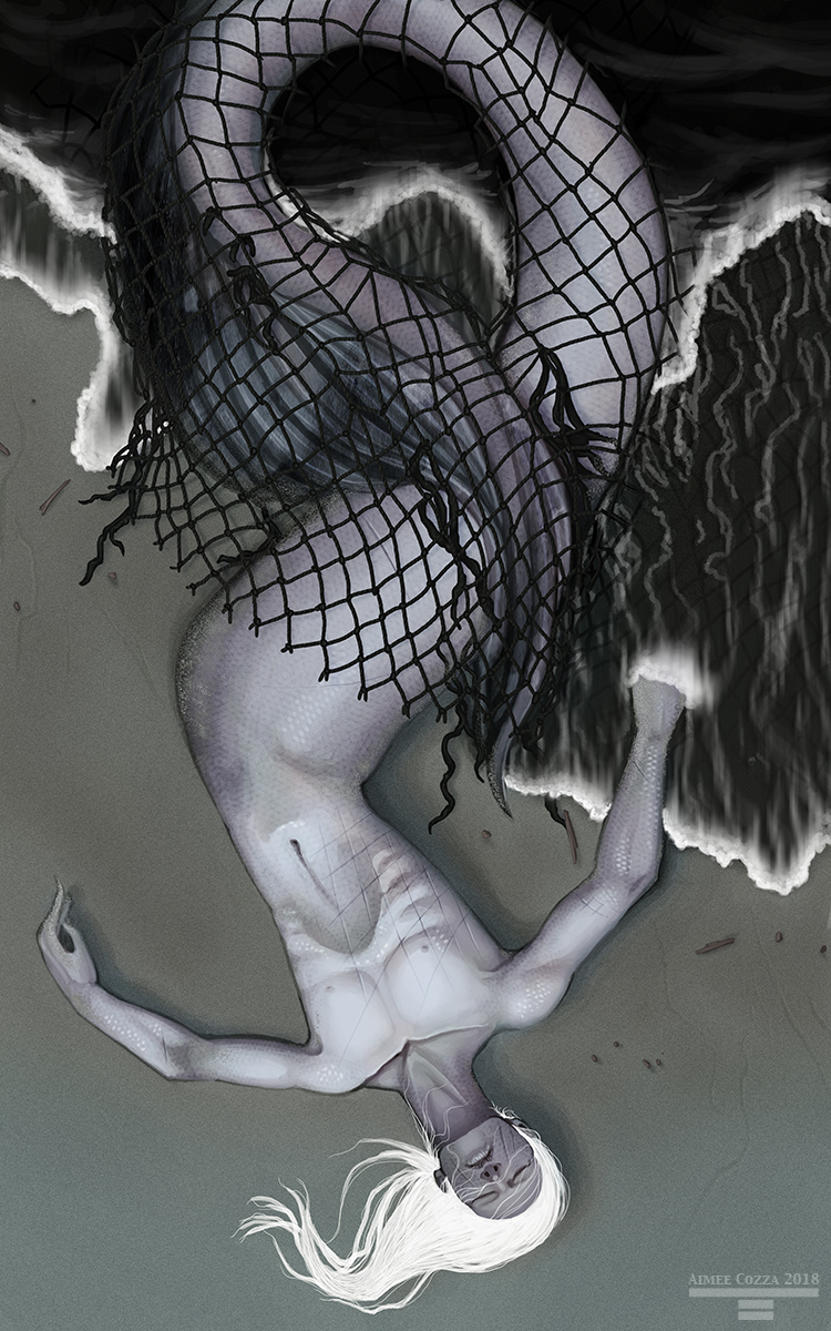 A male-presenting, pale mermaid washed up along the ocean shore. He is tangled in fishing lines. Ocean waves roll over and under him as his body lies on the sand. He has stark white hair.