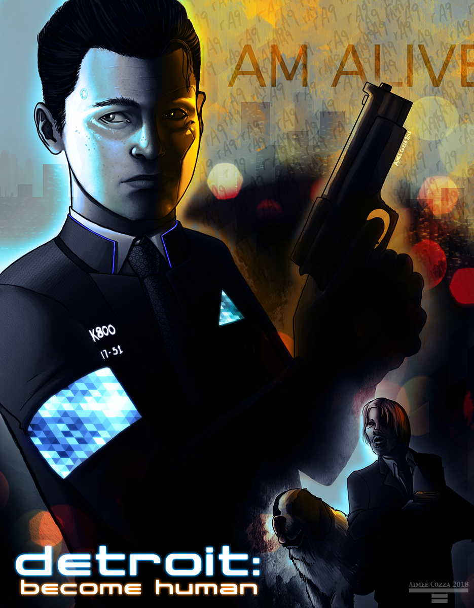 Connor from Detroit: Become Human holding a gun in 3/4 oblique profile view in an old buddy cop movie-poster style. Hank and Sumo are in the lower right hand corner.
