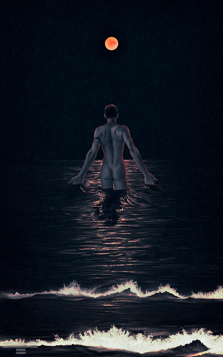 An illustration at night of a man walking into the ocean. His back is facing us. He is nude. His hands are out as he combs them through the oceanic waves. He is looking towards the large red-orange blood moon in the distance. The red-orange reflection of the moon ripples across the ocean waves.