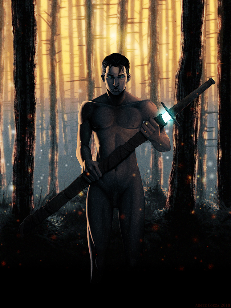 "An illustration of a nude man holding a large sword (a ""zweihander"") in his hands. The sword is mostly wrapped with cloth except for a small section near the hilt that is glowing blue. The man's eyes, which are partially open, are also glowing blue. There is a golden sunset or sunrise filtering through the trunks of leaf-less trees in the background."