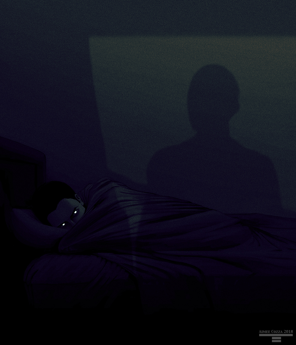 A picture of a man lying curled in bed sheets in a very dark room. His eyes are flashing white in the darkness as a cast shadow of another figure looking in from a doorway looms overhead.