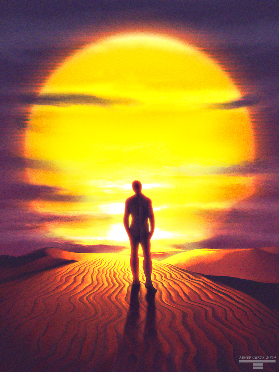 A backlit silhouette of a man walking over a sand dune towards a large, hot sun.