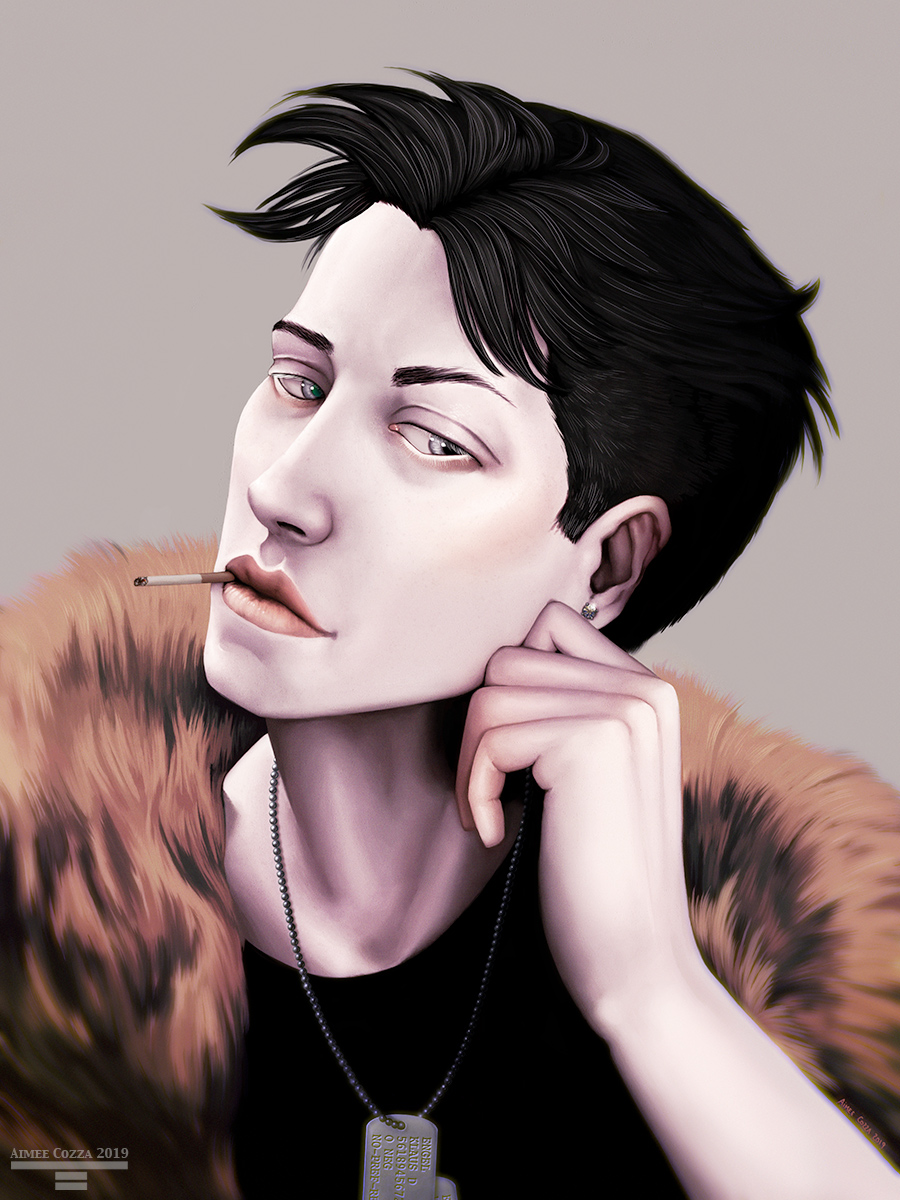 A portrait of a handsome young man smoking a cigarette. He is playing with a diamond earring in his ear and wearing a fur collar. He has dog tags around his neck