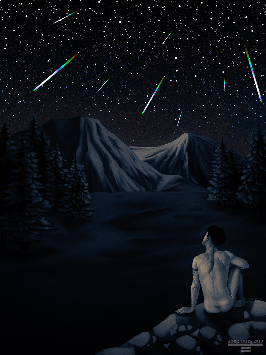 An illustration of a man sitting during winter nude amongst a snowy forest and mountains looking up at the Geminids meteor shower.