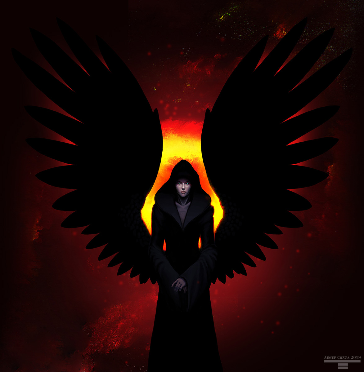 An image of a woman in a black hooded cloak. She has large outstretched black wings, and what little of her face we can see is pale. Her eyes are glowing and she is backlit in fiery colors
