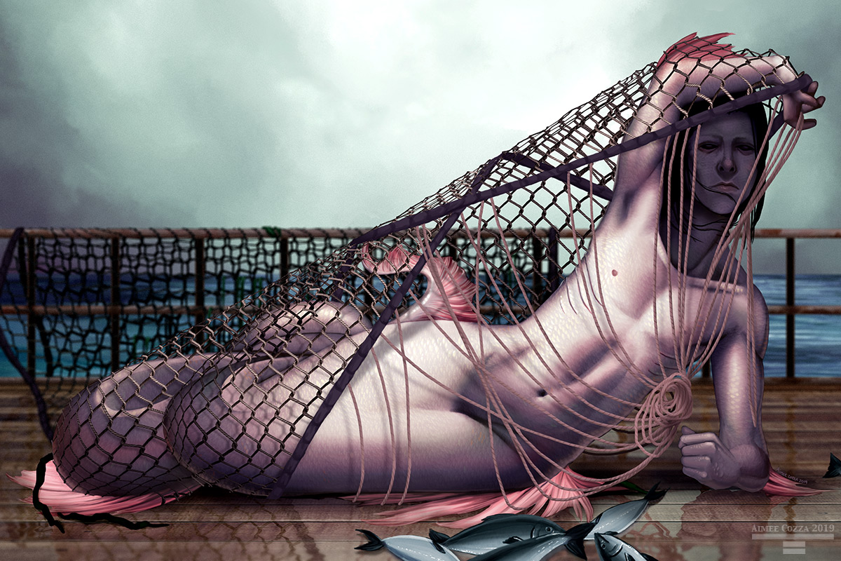 A pale pinkish fishman lying on his side on a fisherman's boat deck during an overcast day. He is tangled in the fisherman's net and is attempting to remove it by lifting it over his head.