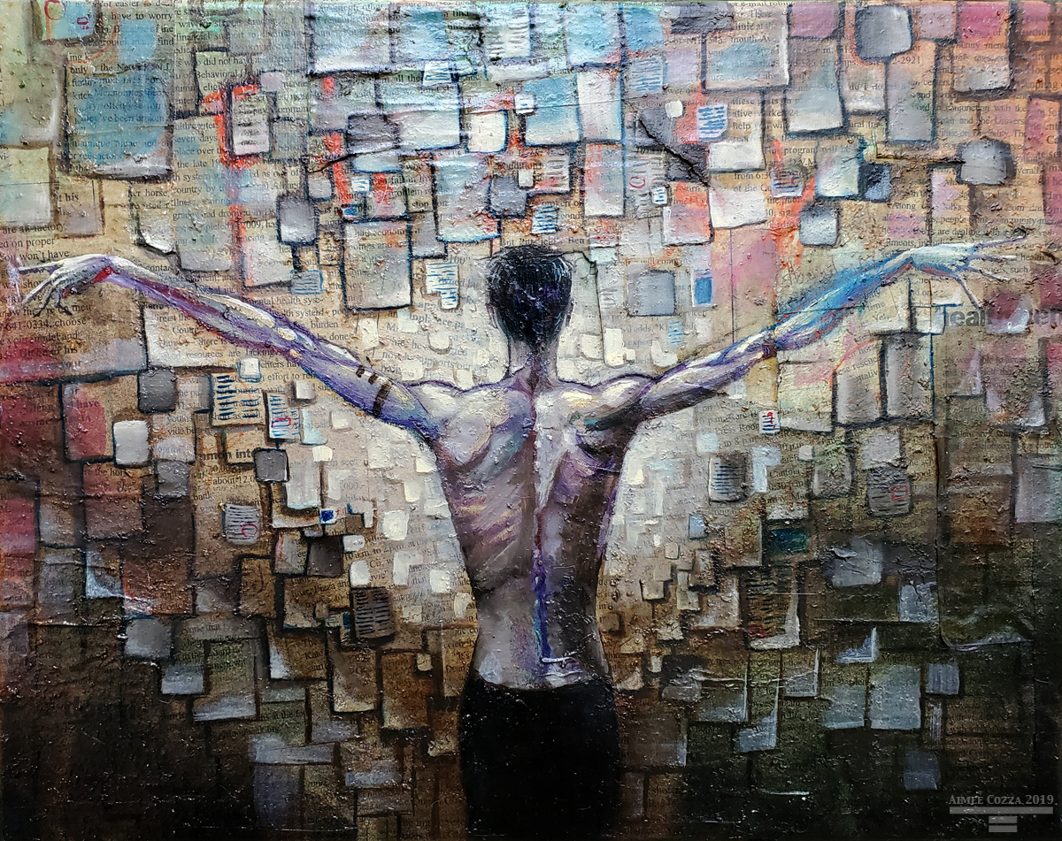 A thin man standing in front of a wall covered in pages of paper in all sizes. His arms are outstretched on either side like wings.