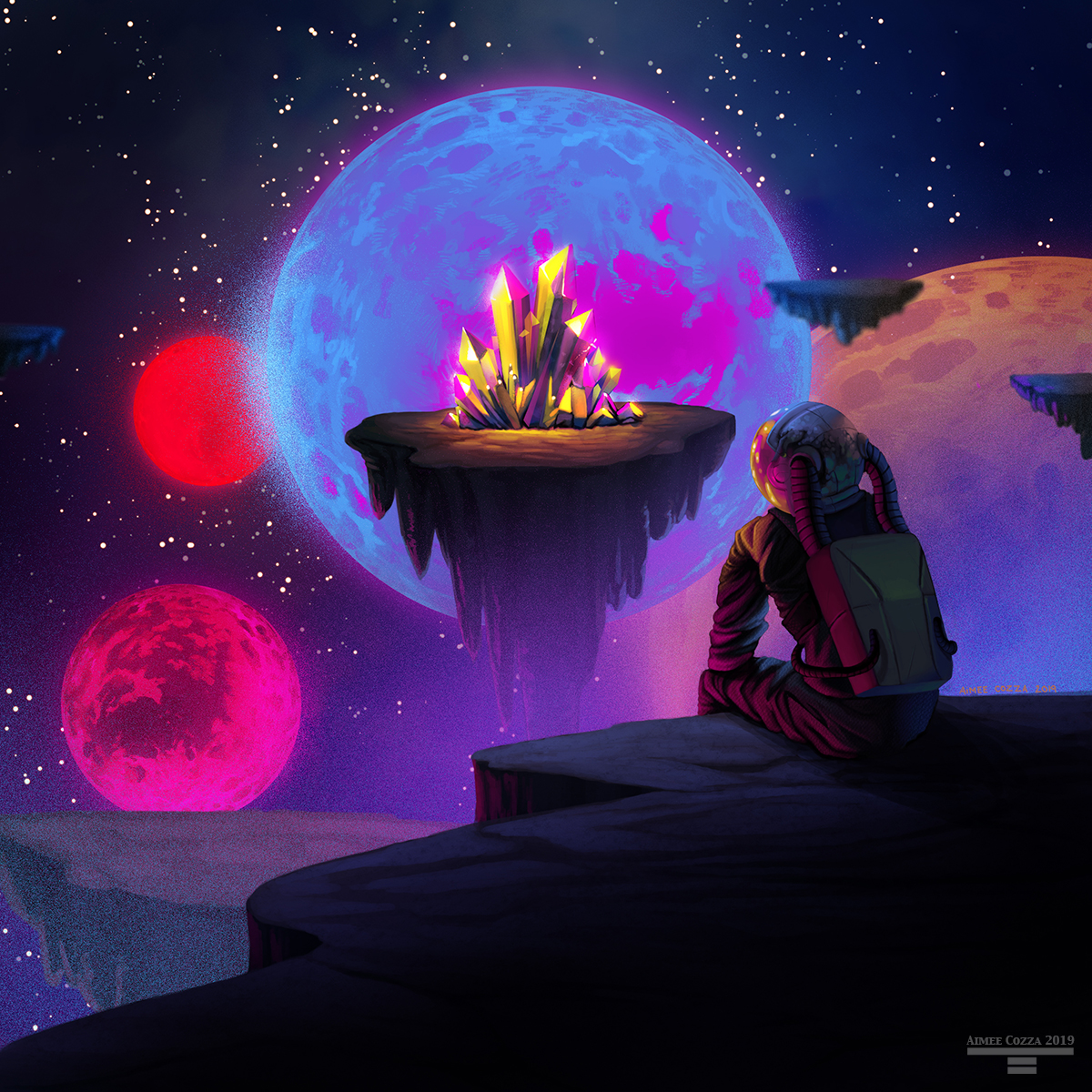An astronaut sitting on a section of land looking into a swath of colorful planets and landmasses in the distance. There is a landmass in the center with bright yellow glowing crystals