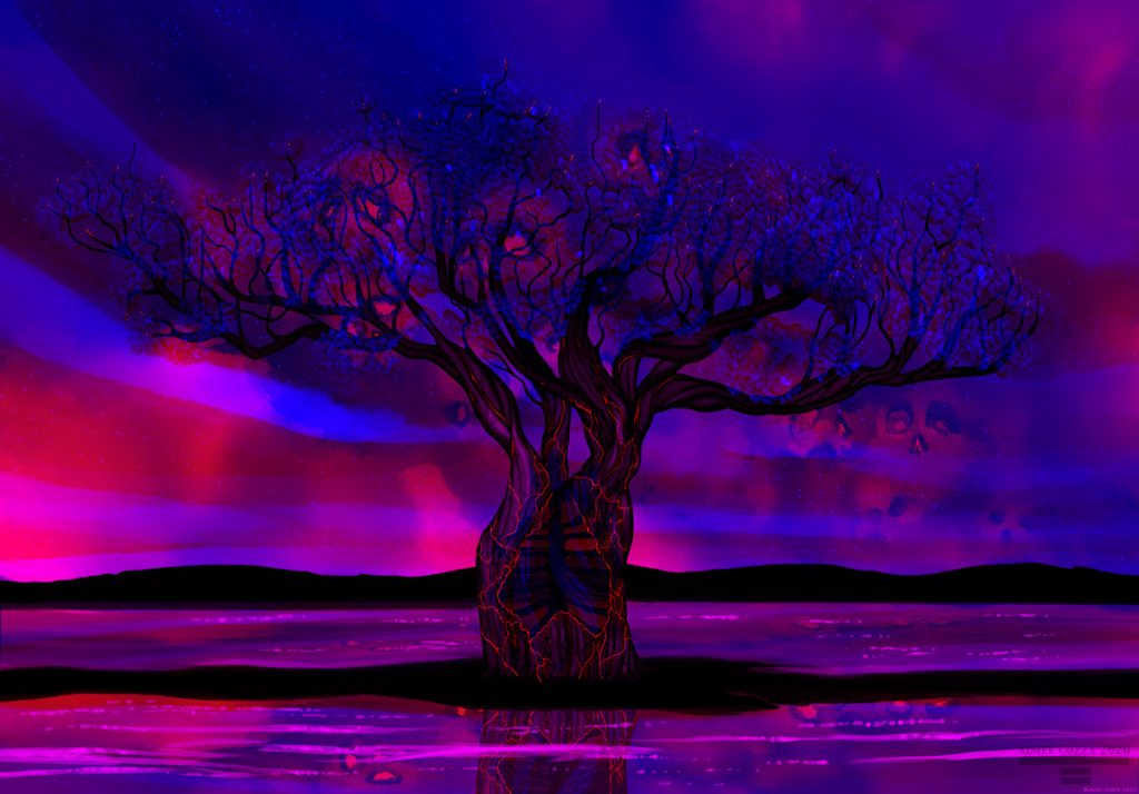 An alternating blue and red tree. The blue tree has lush greenery and starry beautiful skies, while the red tree has smoke-formed skulls, an exposed ribcage in the tree, and burning cinders/embers.