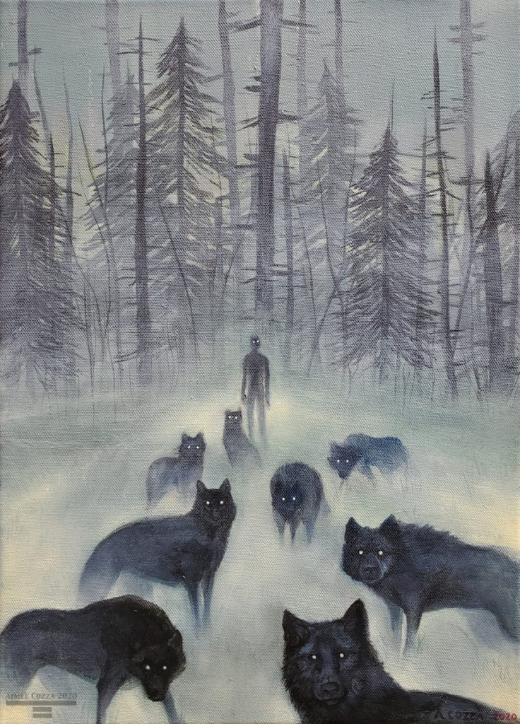An oil painting of a foggy, monochrome forest with a singular man with glowing eyes standing in front of it. Before him are multiple shadows of wolves, their eyes glowing in the darkness as well.
