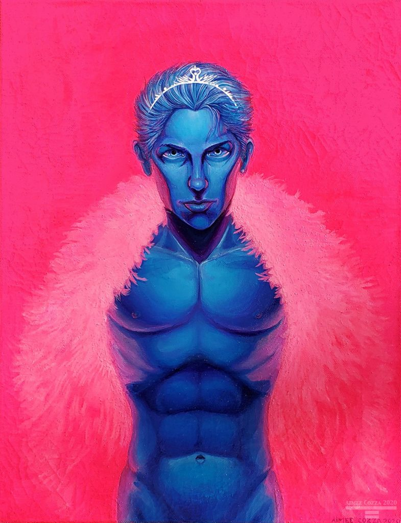 A blue and purple skinned male looking at you. The background is bright pink, which is reflecting off his skin. He is wearing a large pink feather boa and a white swan tiara.