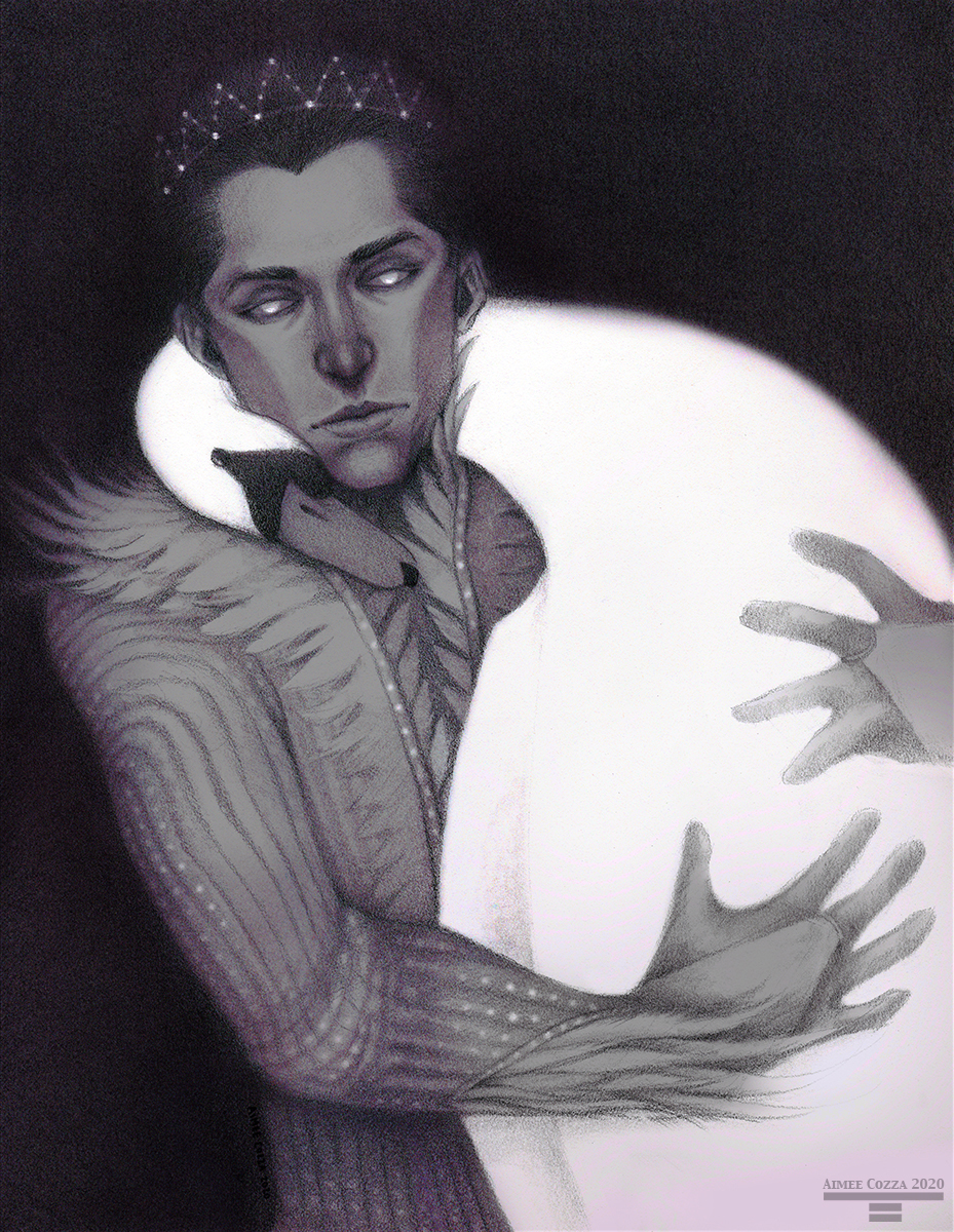 Man with luminous eyes and a starry crown in a feathered costume holding a swan that is curled around his neck.