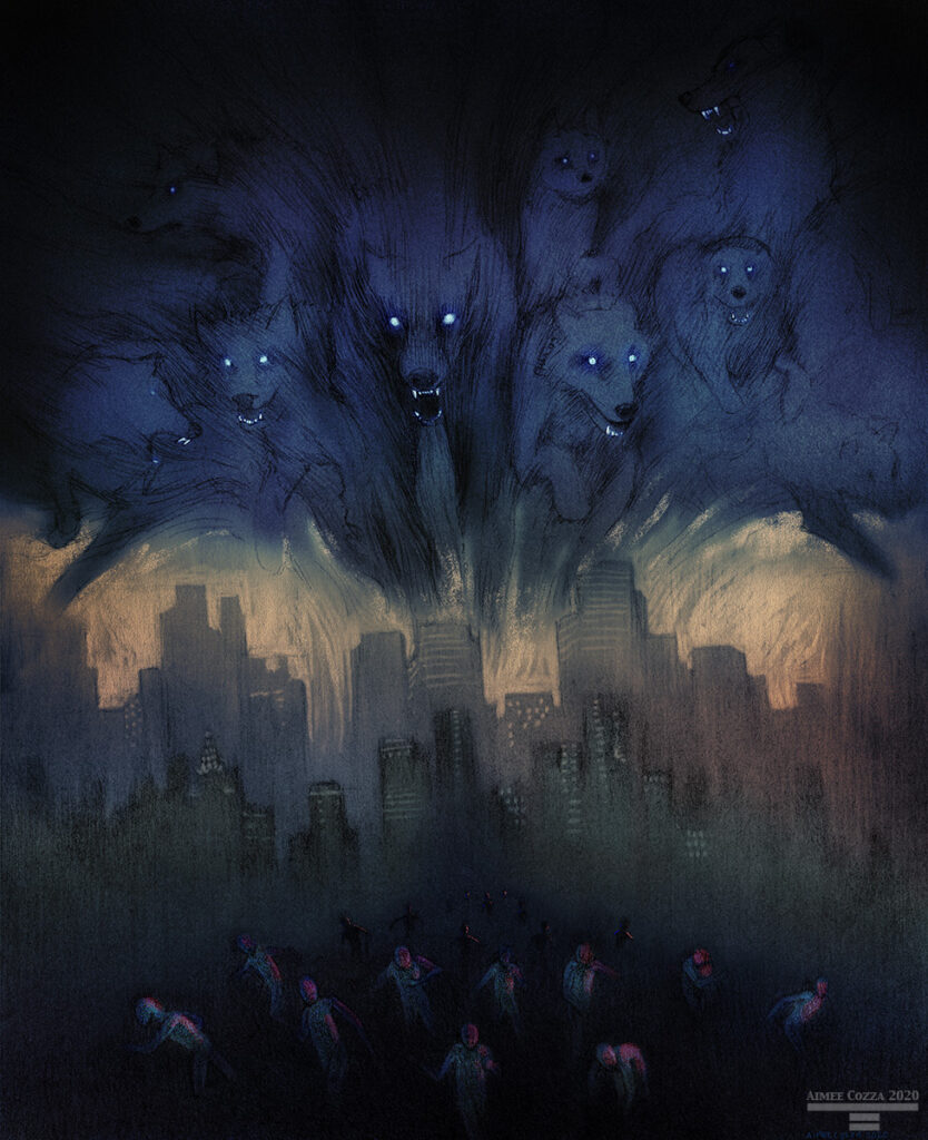 A dark storm cloud in the shape of a wolfpack descends over a city. People are running away in the foreground.