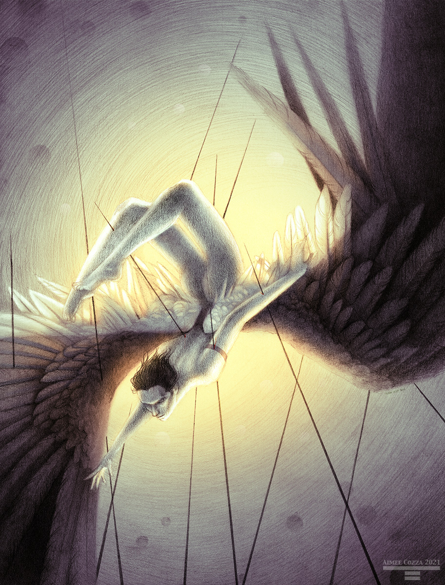 A naked man with large black and white wings, falling with his legs over his head onto sharp black spikes. He is lit from behind in a golden glow