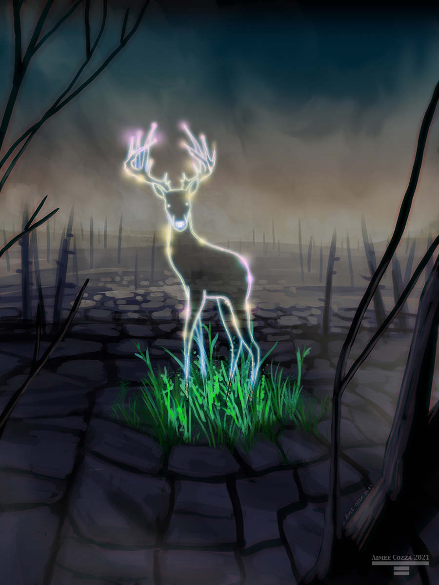 A ghostly outline of a tall, thin deer with antlers standing in a green tuft of grass amidst a burned up forest