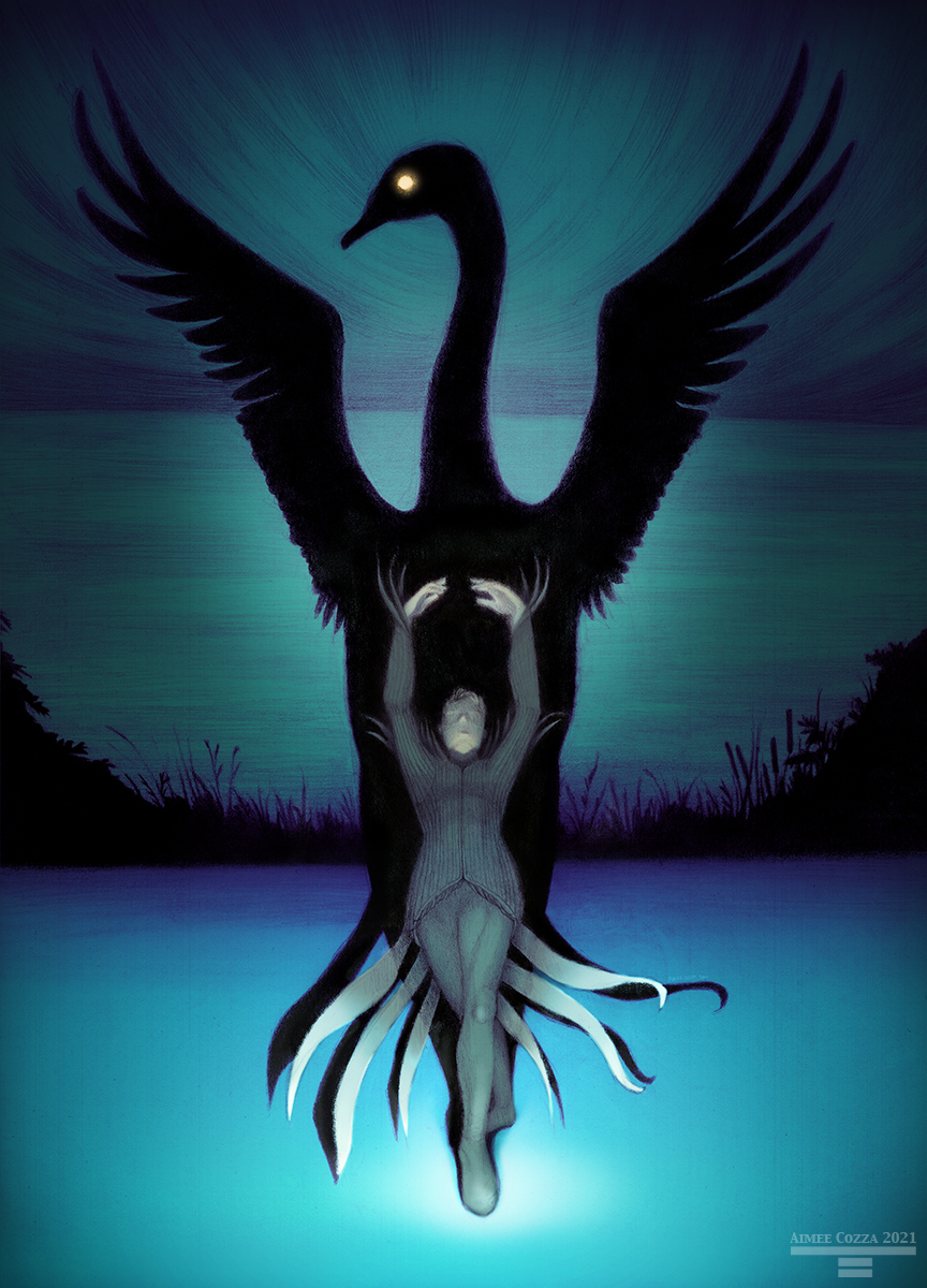 A ballerino standing on a blue, darkened stage with one foot in front of the other, arms raised in the air. Behind him, his shadow expands to a large black swan with a moon for an eye