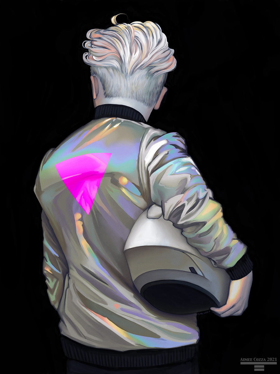 The back of a person wearing a holographic jacket with a pink triangle affixed to the back. He is holding a motorcycle helmet in his arm