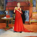 A woman in a red dress reading a letter