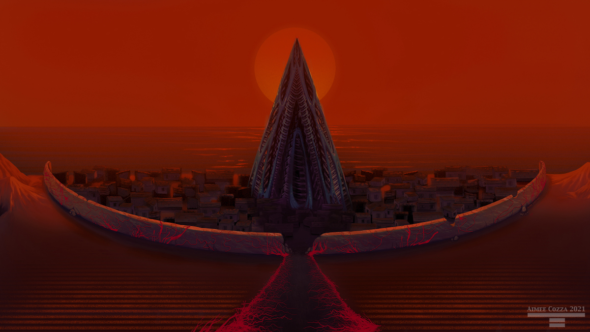 A view slightly overhead view of a walled in civilization with an alien-esque sort of spire-like building in the center. The ocean is behind the civilization, and the sky is blood red with a bright red sun.