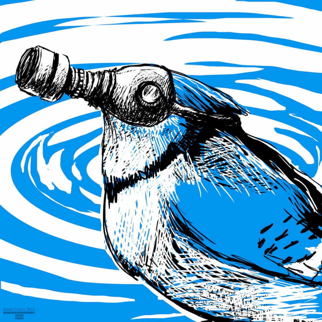 A bluebird (bluejar) wearing a gas mask in front of a rippled puddle