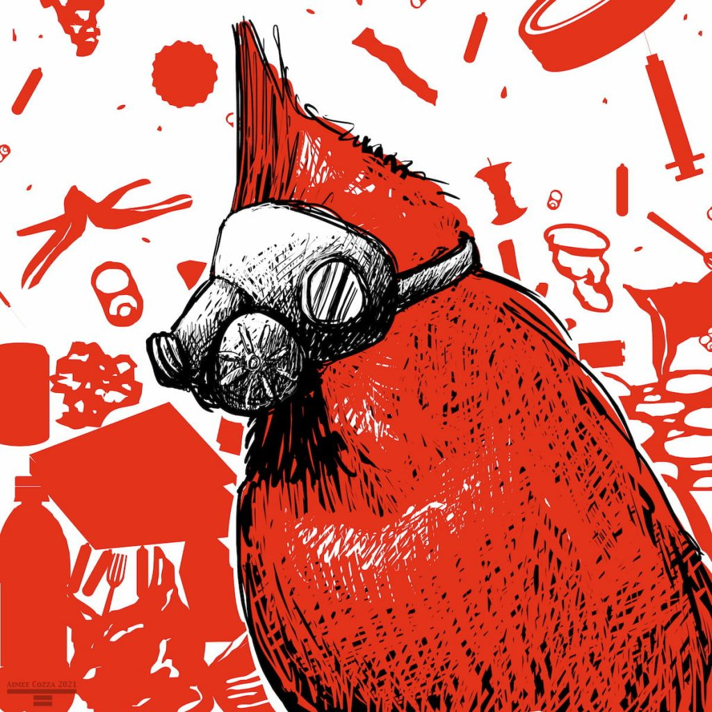 A red cardinal wearing a gas mask in front of a background of falling trash