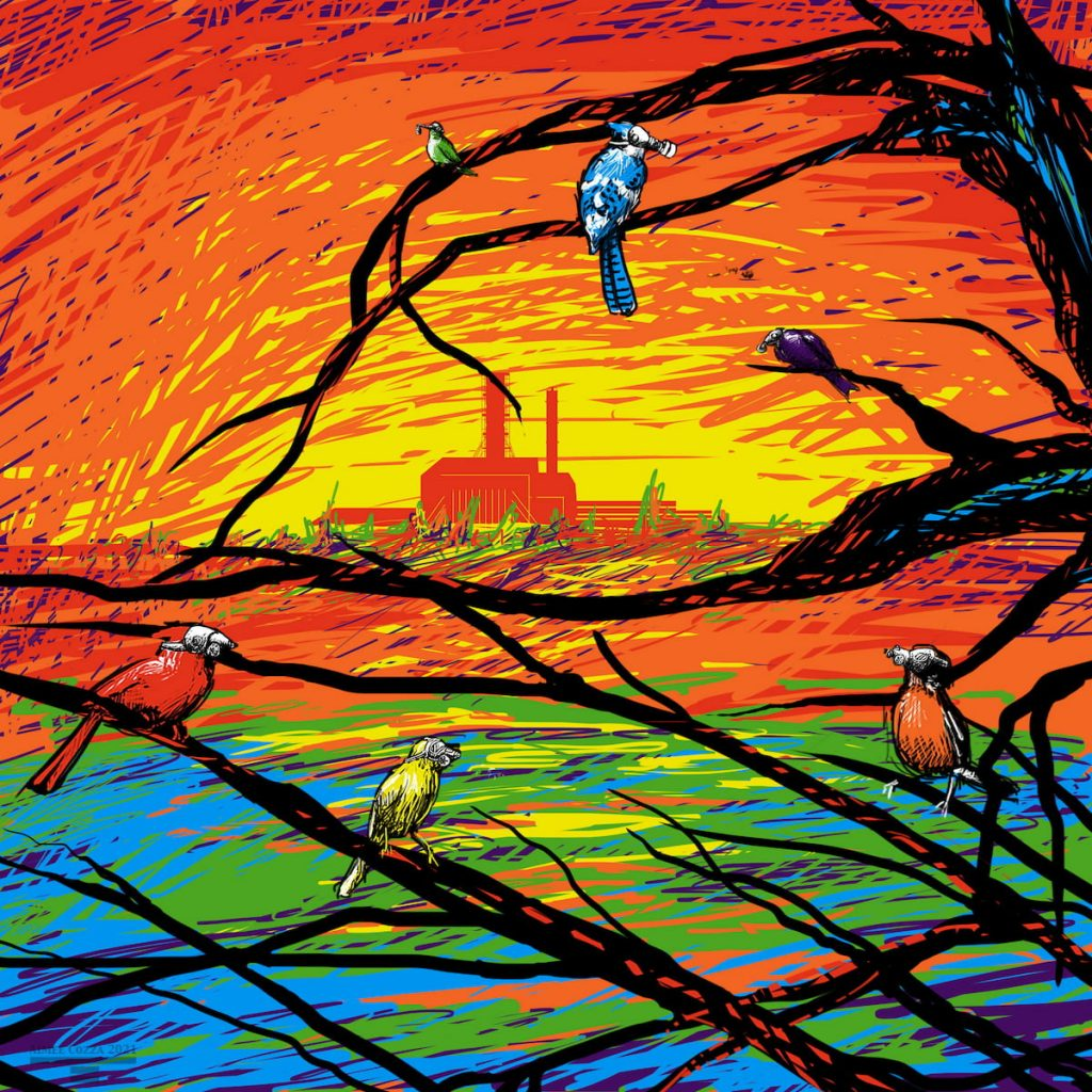 5 multicolor birds sitting in a tree wearing gas masks, overlooking the silhouette of Chernobyl