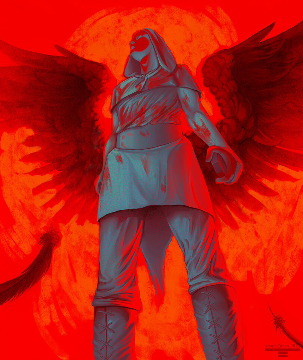 A low perspective shot of a man wearing a hood, long shirt with belt, and cloth boots. He is covered in blood stains, holding a rock in his left hand. He is framed by two very large extended wings. He is looking off into the distance.
