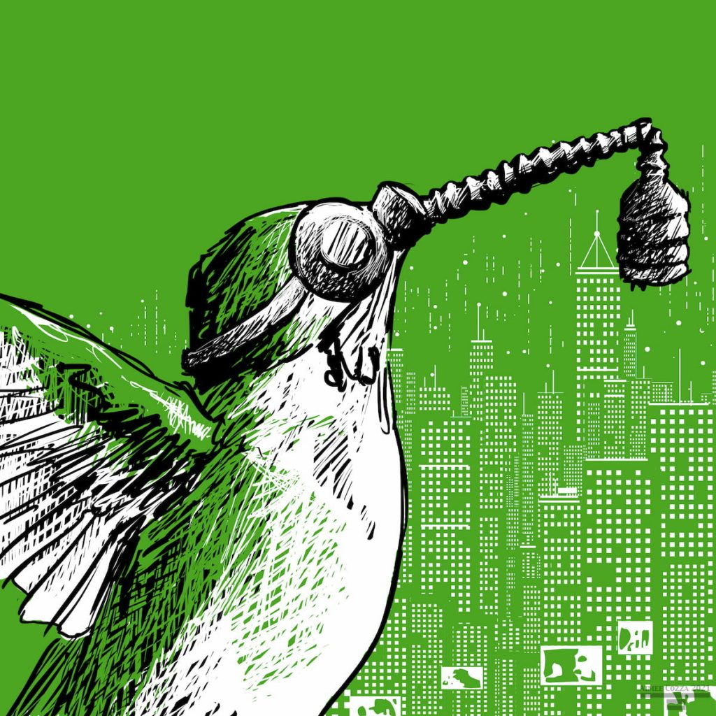 A green hummingbird wearing a gas mask in front of a lit up city scape