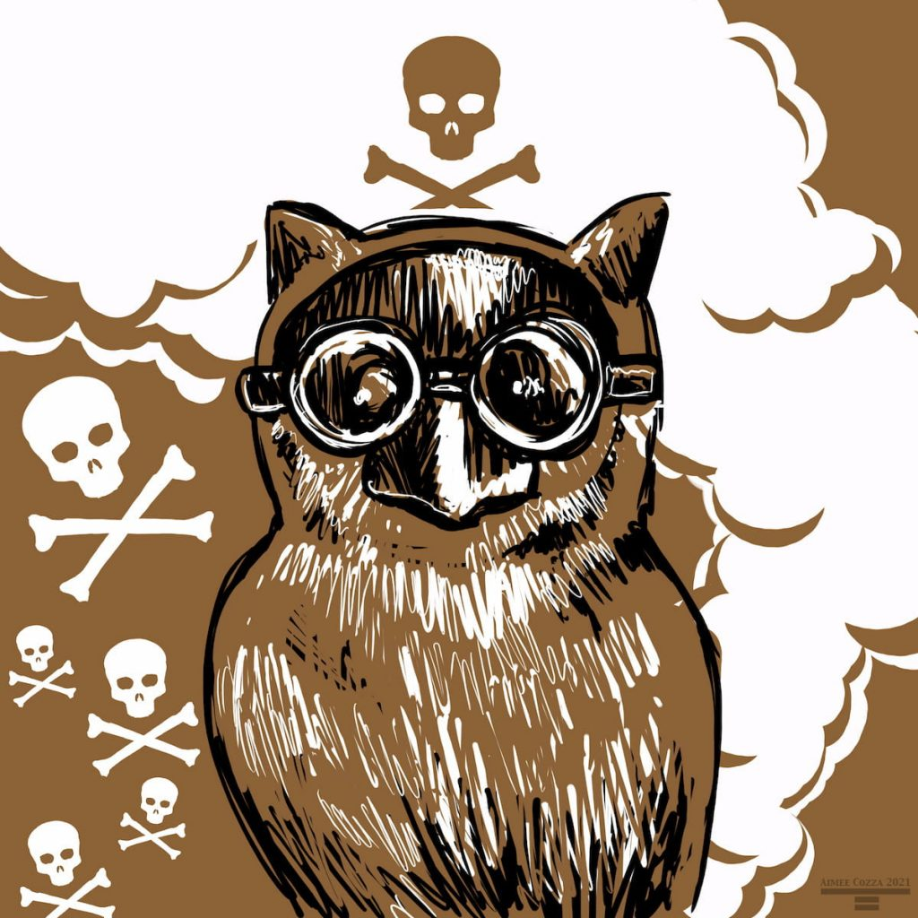 A brown screech owl wearing a gas mask in front of toxic fume clouds
