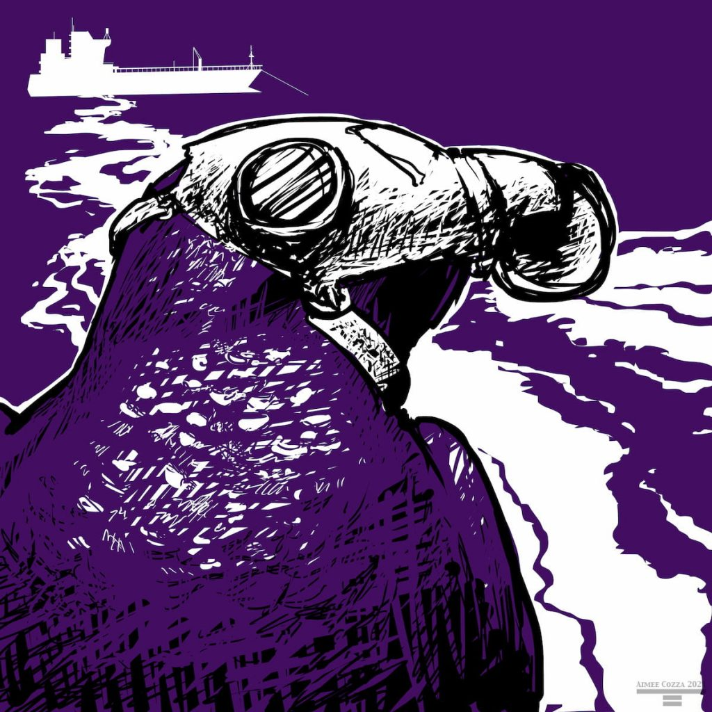 A purple martin, wearing a gas mask, in front of an oil tanker that is spilling oil