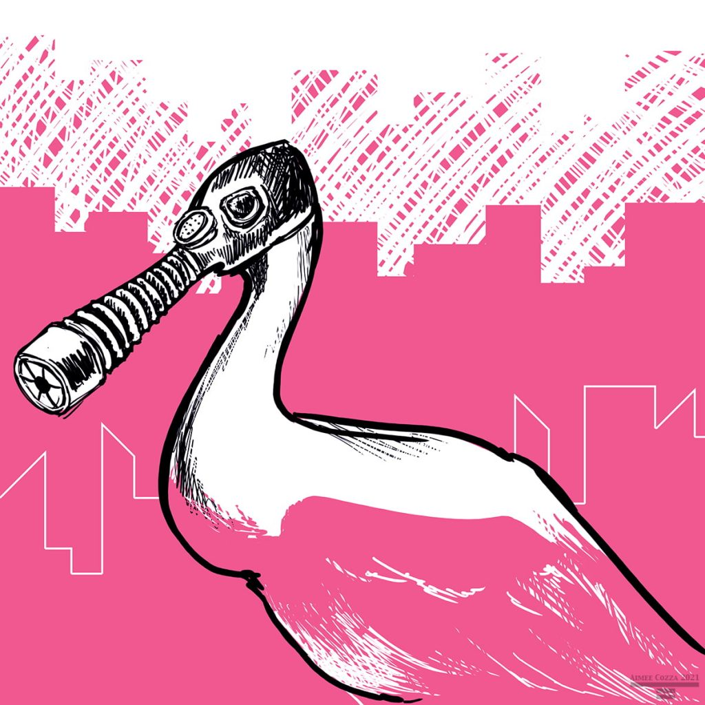 A pink roseate shoebill wearing a gas mask in front of a city scape