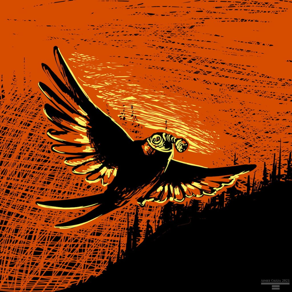 A black, orange red, and yellow swallow flying away from a smokey wildfire. It is wearing a gas mask