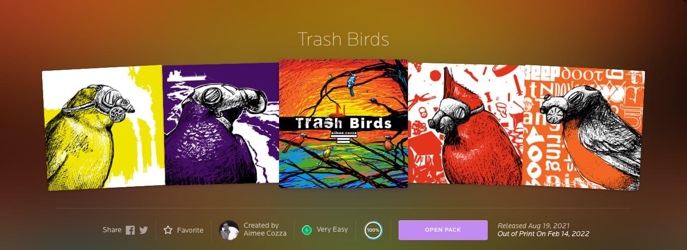 """Trash Birds"" trading card series on NeonMob"