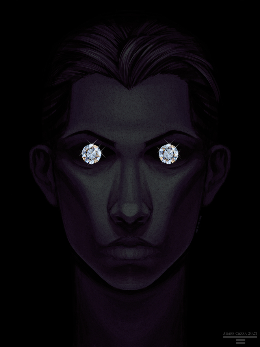 A male portrait emerging out of the shadows, dimly lit from the top. The pits of his shadowed eyes have gleaming diamonds in each