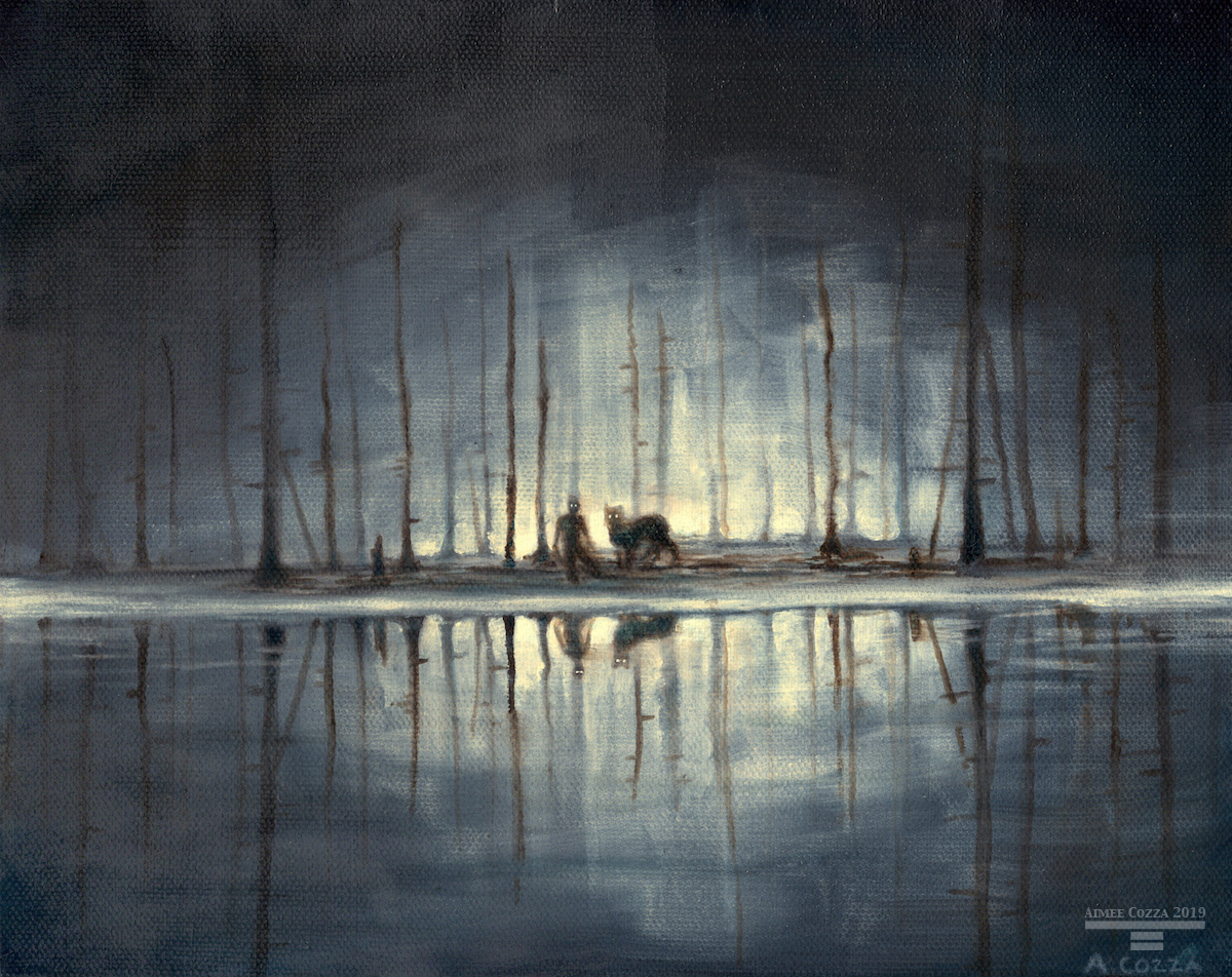 A scene of a silhouetted crouching man and a wolf-like creature with glowing eyes by the edge of highlight reflective water in a burnt up forest.